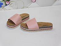 Шлепанцы женские розовые замшевые с орнаментом