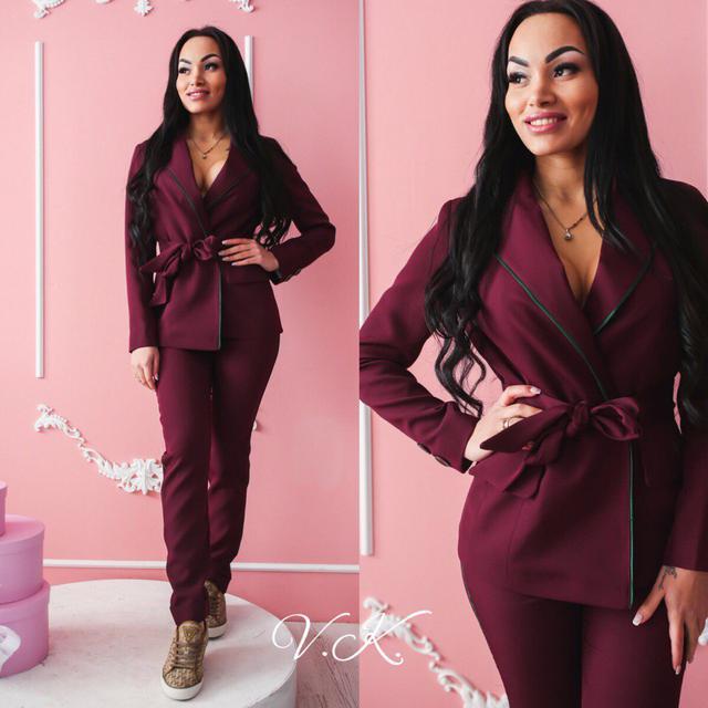 Костюм женский модный в пижамном стиле пиджак и брюки разные цвета ... 3f399acf06106