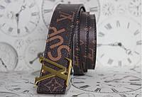 """Ремень брендовый Louis Vuitton × Supreme """"New collection"""" золотая пряжка"""