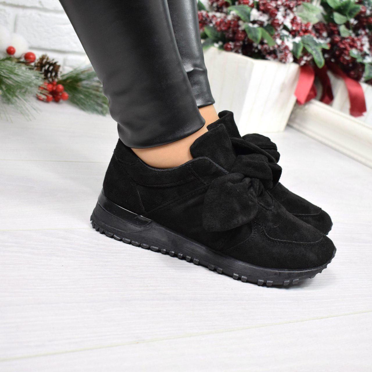 """(37 и 38 РАЗМЕРЫ) Кроссовки, кеды, мокасины женские черные """"Еar bow"""", спортивная обувь"""