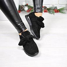 """(37 и 38 РАЗМЕРЫ) Кроссовки, кеды, мокасины женские черные """"Еar bow"""", спортивная обувь, фото 3"""