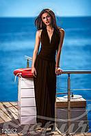 Шоколадное длинное платье с разрезом