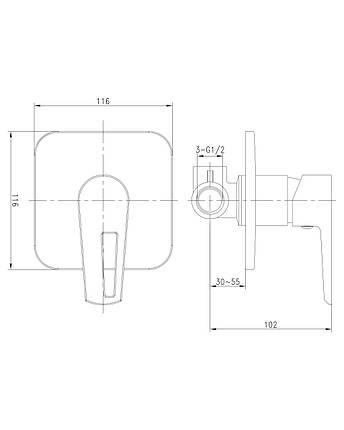 Смеситель встроенный для душа  Imprese Breclav VR-15245-WZ, фото 2