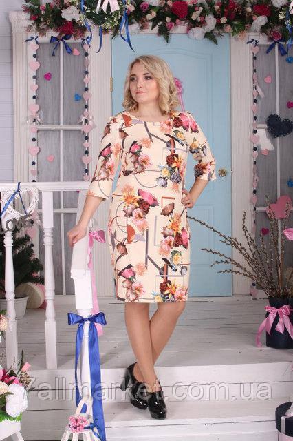 """Платье женское полубатальное с цветами, размеры 50-56 (2 цвета) Серии """"Selta"""" купить оптом в Одессе на 7 км"""