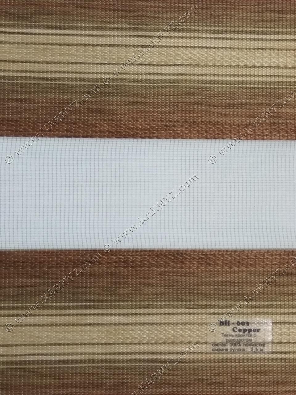 Рулонные шторы День-Ночь ВН-603 коричневый