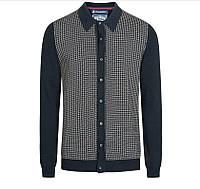 100% Оригинал Мужской кардиган реглан свитер синий 100% хлопок от английского бренда Le Shark