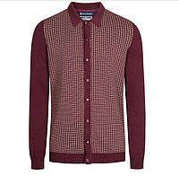 100% Оригинал Мужской кардиган реглан свитер бордовый марсала 100% хлопок от английского бренда Le Shark