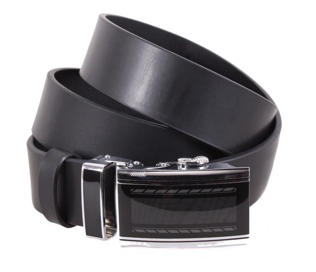 Мужской ремень из натуральной кожи под брюки ALD666-25 черный