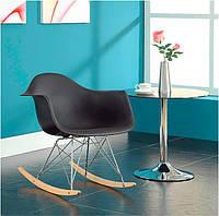 Кресло качалка с буковыми полозьями Лаунж черное, реплика на кресло-качалку Eames RAR Style