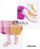 Открытые кожаные сандалии на плоской цветной подошве размеры 36-41