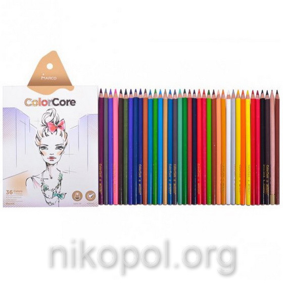 Набор цветных карандашей MARCO ColorCore 3130-36CB, 36+1 цветов