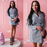 Платье-пиджак модное двубортное мини в клетку костюмка SMk2196, фото 1