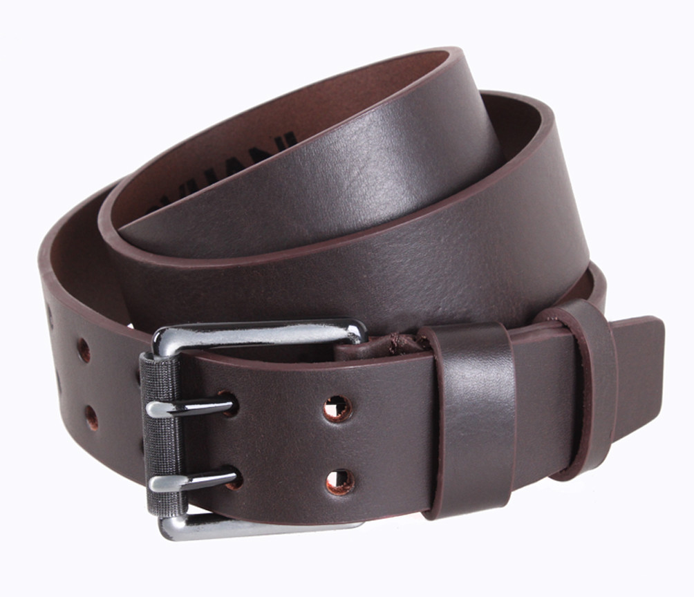 Мужской кожаный ремень Dovhani LD666-15 115-125 см Коричневый