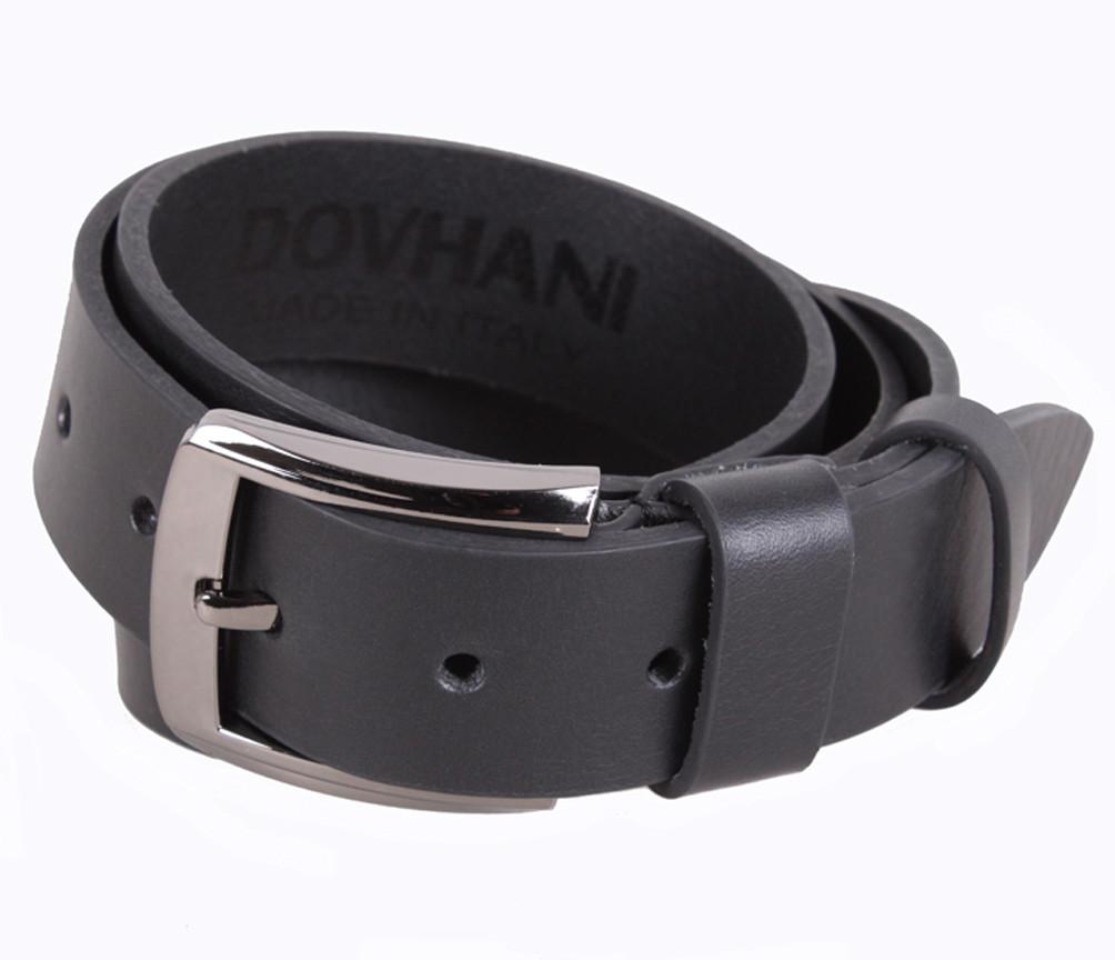 Мужской кожаный ремень Dovhani LD666-21 115-125 см Черный
