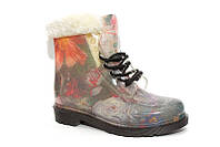 Женские стильные резиновые ботинки силиконовые разные цвета на меху KF0139