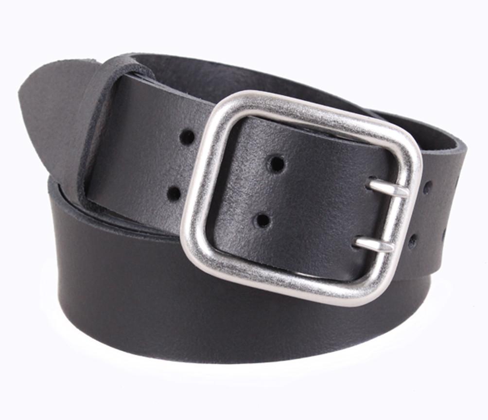 Мужской ремень из натуральной кожи под джинсы SP999-10 черный
