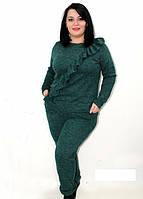 """Комплект: кофта и штаны """"Волан"""". Материал ангора-меланж, разные цвета, батальные размеры."""