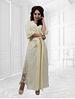 Велюровый халат длинный в пол с изюминкой