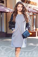 Пальто из кашемира с меховыми рукавами