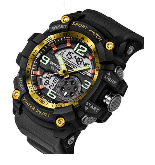 Мужские спортивные часы Sanda 759 Black/Gold диам 55 мм
