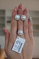 Серебряное кольцо с жемчугом Арт.493