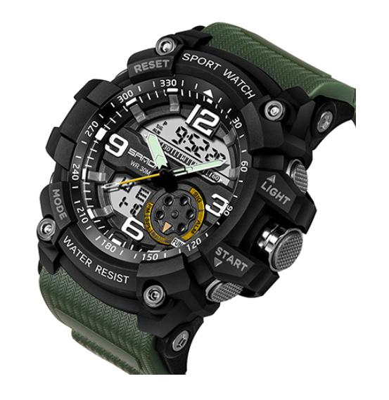 Мужские спортивные часы Sanda 759 Army green/Black диам 55 мм