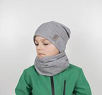 """Комплект """"Каро"""" х/б 4кл (шапка+хомут) серый, фото 1"""