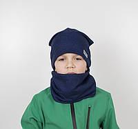 """Комплект """"Каро"""" х/б 4кл (шапка+хомут) синий, фото 1"""
