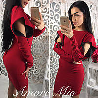 Женское оригинальное платье с рюшами на рукавах (3 цвета)