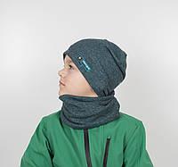 "Комплект ""Каро"" х/б 4кл (шапка+хомут) зеленый, фото 1"