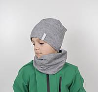 """Комплект """"Каро"""" х/б 6кл (шапка+хомут) серый, фото 1"""