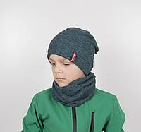 "Комплект ""Каро"" х/б 6кл (шапка+хомут) зеленый, фото 1"