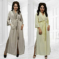 Шикарный велюровый халат с кружевами длинный