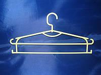 Белая двух ярусная вешалка плечико 42,5см пластиковая для одежды