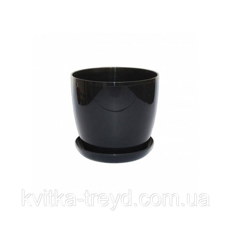 Цветочный горшок Глянец 0.8л Черный