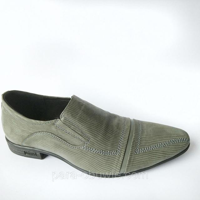 Обувь от производителя Харьков мужские туфли серого цвета, в лазерной коже, под ложку повседневные