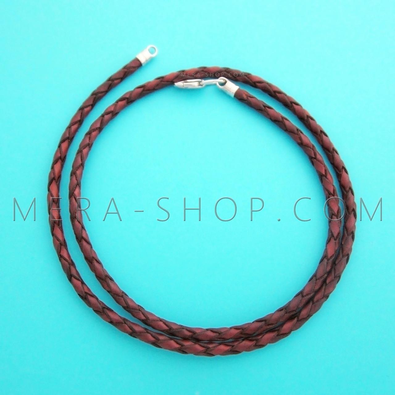 Кожаный плетёный шнурок коричневый (⌀3,0 мм) замок из серебра