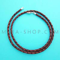 Кожаный плетёный шнурок с серебром (3,0 мм) коричневый