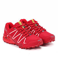 Женские кроссовки красные на шнуровке с белыми полосками