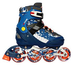 Раздвижные роликовые коньки REKON размер 35-38 синий