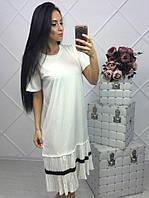 Свободное, женское, летнее платье с плиссированной рюшей по низу.