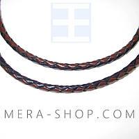 Кожаный плетёный шнурок с серебром (3,0 мм) коричневый+чёрный