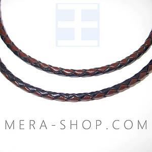 Кожаный плетёный шнурок с серебром (⌀3,0 мм) коричневый+чёрный