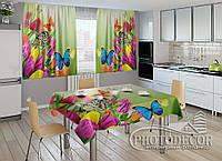 """Фото комплект для кухни """"Тюльпаны и бабочки"""""""