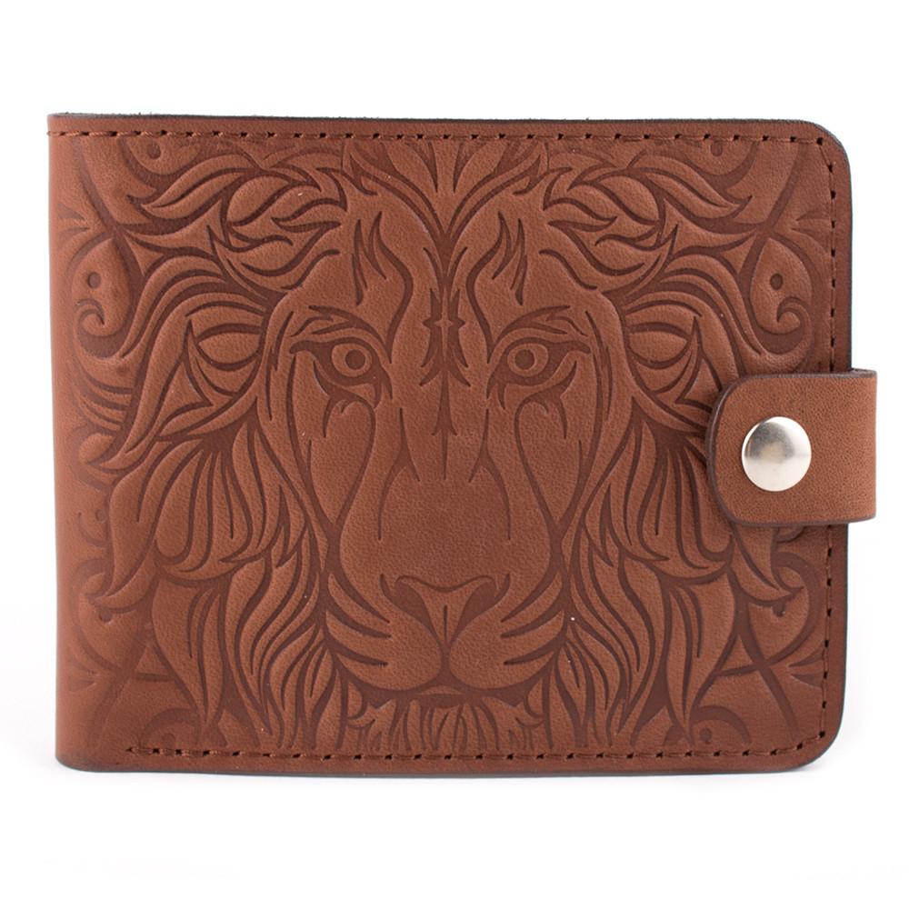 Кожаное портмоне П4-02 со львом (светло-коричневый)
