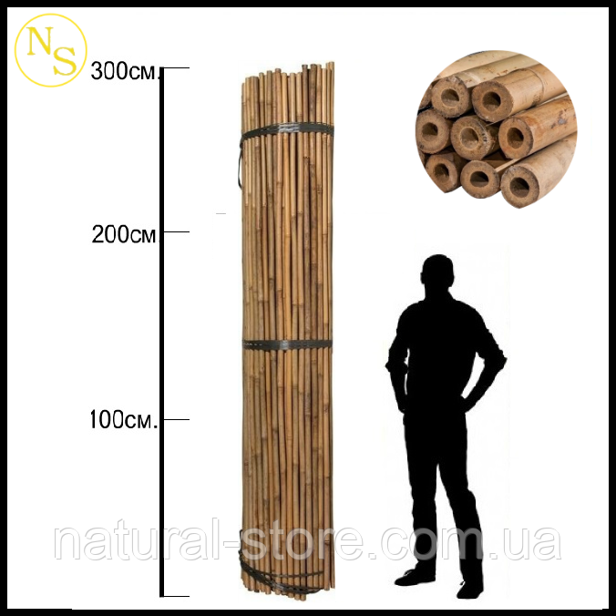 Бамбуковый ствол, опора L 2,95м. д. 22-24мм.