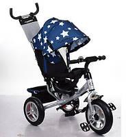 Детский Трехколесный велосипед TURBO TRIKE M 3113A-S11 колесо покрышка+камера (Серебристо-синий, Звезды)