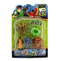 Ben ten Бен Тен 4 светящихся фигурок 5 серии + часы с дисками - Краб+Робот+Жук +Адватай