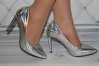 Туфли серебристые классика