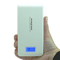 Повербанк Pineng PN-929 на 15000 мАh внешний аккумулятор с дисплеем и фонариком Power bank Оригинал Белый